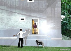a shiny building.a man is behind the building.[building]sky.garden backdrop.a woman is 1 feet left of the man.she is -2.1 feet above the man.the woman is facing north.she is 5 feet in front of the man.a dog is 3 feet left of the man.it is facing the man.