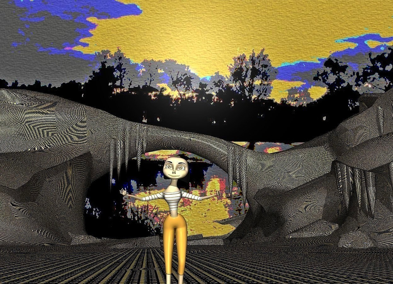 Input text: a [kc] backdrop.ground is 20 inch wide [kc].ground is visible .ground is 220 feet tall.a 5 inch tall 80% dim orange woman is 40 inch above the ground.sky is orange.the woman is facing west.