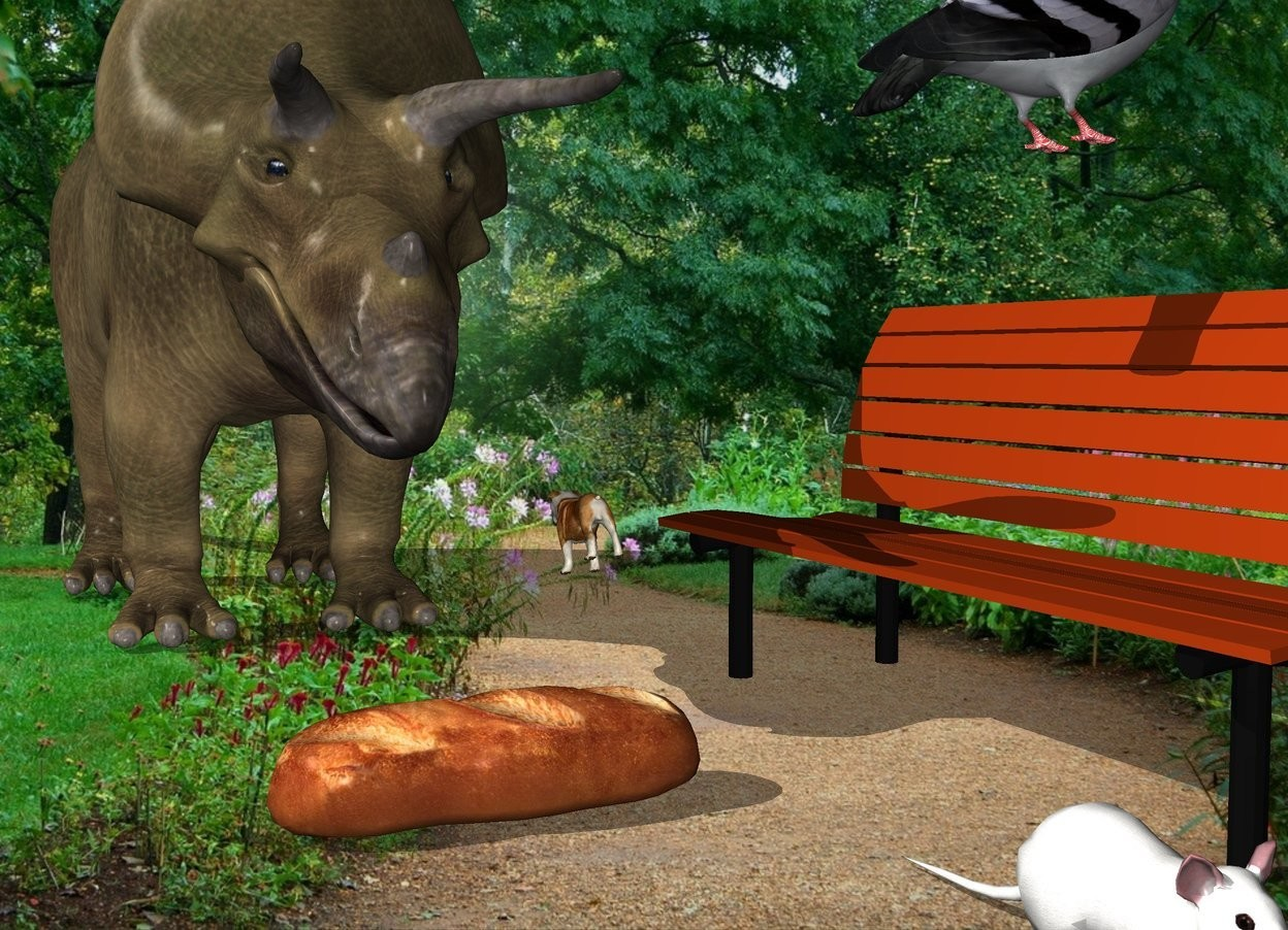 Input text: the small dog is in the park. it is facing back. it is leaning front. the bench is three feet in front of the dog. it is facing left. a large pigeon is 9 inches above the bench. it is facing the right.  the large bread is 1 foot to the left of the bench. a very large mouse is 1 foot in front and to the right of the bread.  A dinosaur is 1 foot to the left of the dog. it is facing the bread. it is 5 feet tall.