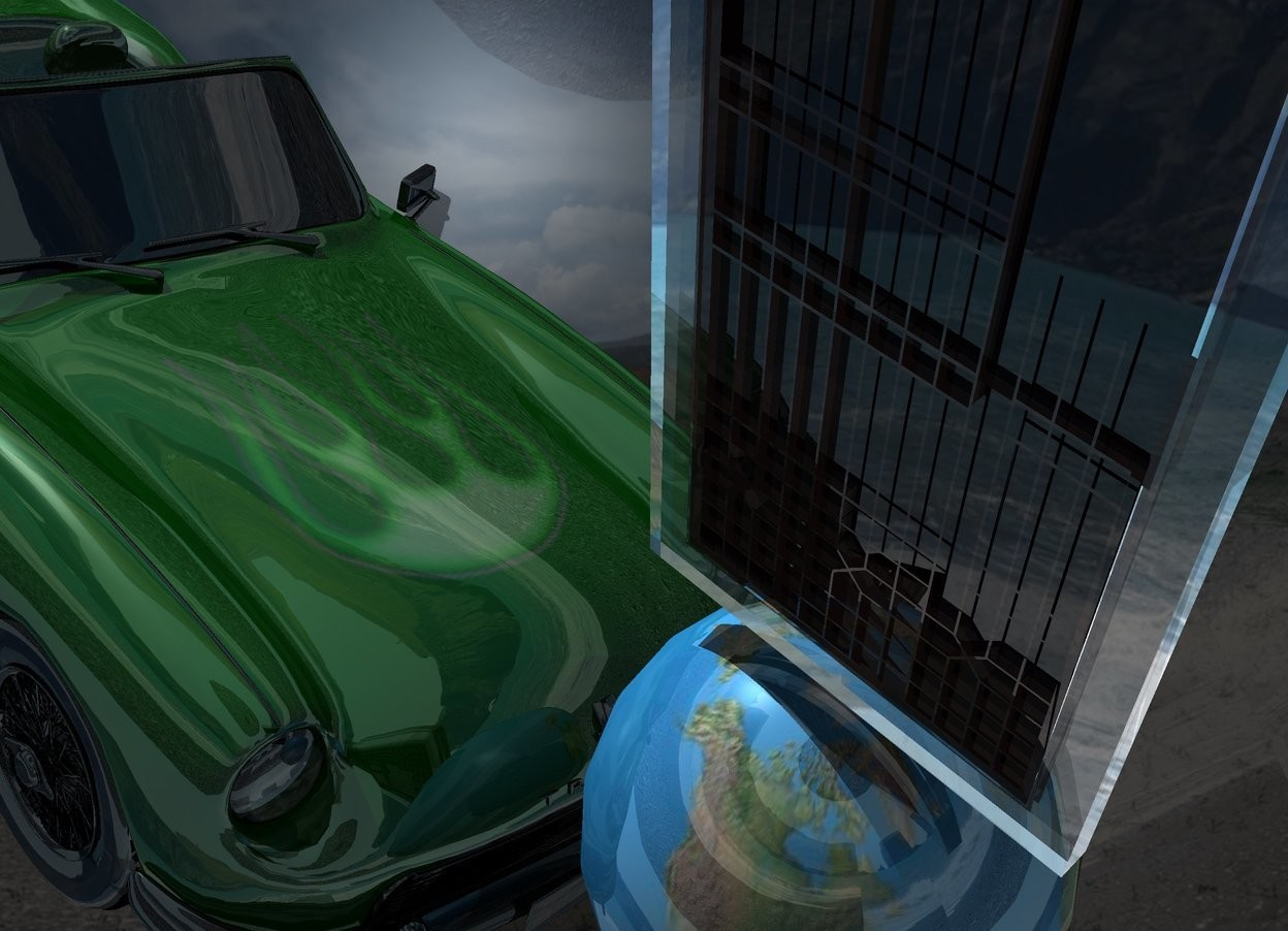 Input text: A 20% shiny window on the world. World is 20% shiny and 80% dark. Sky is 6000 feet wide island. Camera light is black. Sun is silver. A 45% dark 20% shiny green car is left of and -4 feet above the world. It is facing the world. It is leaning left. Backdrop is dark and 10% shiny.
