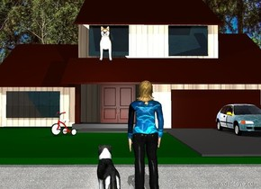 a 30 foot tall [brick] house. a 6 foot tall dog is -18 feet above and -38 feet in front of and -29 feet left of the house. the dog leans 10 degrees to the front. a linen light is 5 feet in front of the dog. a [blue] car is -25 feet in front of and -20 feet right of and -29.5 feet above the house. a 40 foot tall tree is behind and -20 feet left of the house. a woman is 8 feet in front of the house. she faces the tree. her shirt is [blue]. a border collie is left of the woman. the border collie faces the tree. ground is pavement. ground is visible. backdrop is woods. sun's azimuth is 180 degrees. a 3 foot tall  tricycle is -19 feet in front of and -25 feet left of and -29.5 feet above the house. it faces southwest. a mink brown door is -32 feet in front of and -29 feet above and -33 feet left of  the house. the woman's head of hair is [hair].