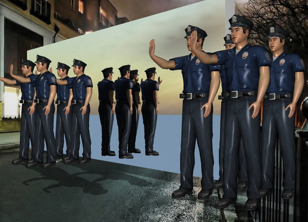 Input text: The silver wall. The 2 men are 1 foot in front of the wall. 2 policemen are in front of the 2 men. 2 new policemen are in front of the 2 men.