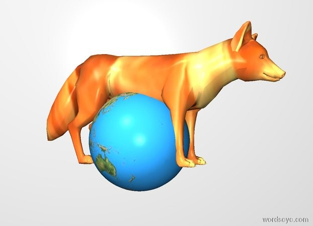 Input text: THE WHITE BACKDROP. The [fire] fox is -0.6 feet above and -1.3 feet in front of the 0.8 foot tall globe.