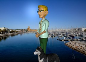 The [ocean] backdrop.  the dog is right of the man.