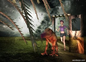 a fantasy door.a 6.5 feet tall woman is behind the door.fantasy backdrop.the woman is -2.8 feet left of the door.a monster is 2 feet in front of the woman.a tree is -7 feet left of the door.a rust light is 1 feet in front of the monster.the woman's shirt is purple.