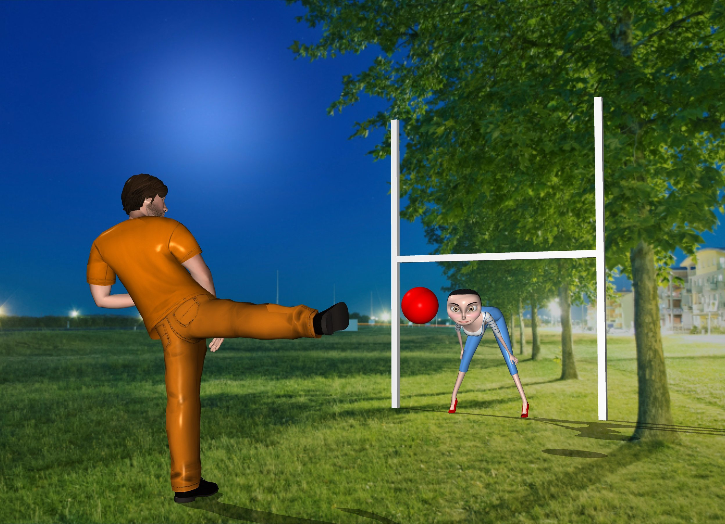 Input text: there is a big woman in front of a goal. 20  feet In front of the woman is a big man. The man faces the woman.  4 feet in front of the woman is a big red ball. The ball is 6 feet above the ground.