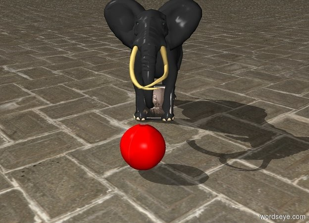 Input text: In the picture is an elephant.the elephant is 20% big.The picture is 75% big.the picture is 25% big.In front of the elephant is a red ball.the ball is 15% big.