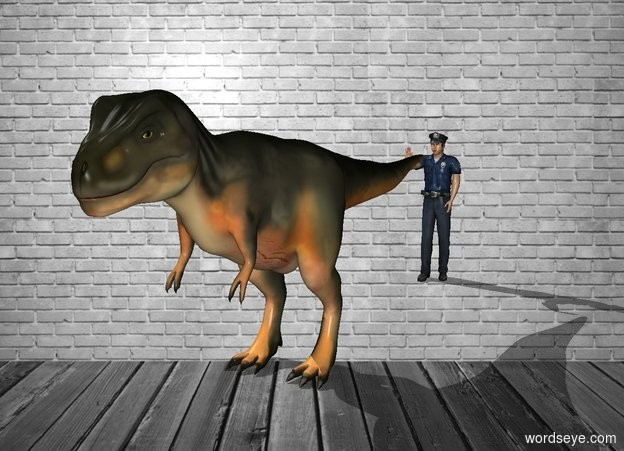 Input text: In the room is a dinosaur.The background is red.Behind he is a man.The man is 200% big