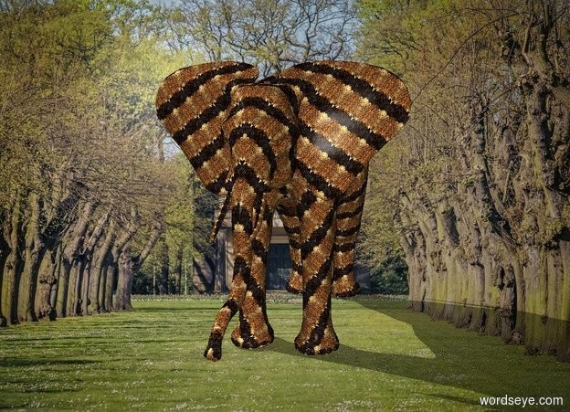 Input text: An  african elephant is  [snakeskin] .In front of the elephant is an 25% big red ball.