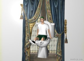 curtain backdrop. a toilet. the toilet is 3 inches tall. a sitting person. the sitting person is 2 inches tall. the sitting person is -1.75 inches above the toilet. the sitting person is -2 inches in front of the toilet.