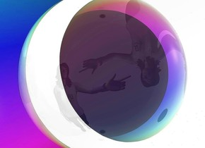 a 1st 80 foot tall rainbow sphere. a person is -48 feet above and in front of the sphere. the person faces right. the sphere faces southeast. the sphere leans to the right. a 2nd clear sphere is -1 foot above and -.5 foot behind and -.5 feet right of the person. sky is white. backdrop is invisible.