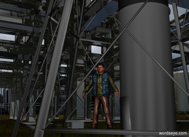 Input text: a 1st shiny structure.a man is -21 feet left of the 1st structure.he is facing southeast.a 2nd shiny structure is left of the 1st structure.a tower is -37 feet above the 1st structure.industry backdrop.