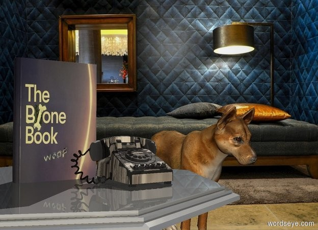 Input text: Room backdrop. An image-14933 book is 0.5 inch in a 50% dark 30% shiny table. Azimuth of the sun is 40 degrees. A pale [bone] phone is in front of and -4 inch right of the book. A dog is behind and 2 feet right of the table. Camera light is cream.