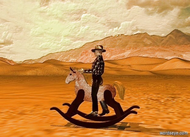 Input text: the ground is visible. backdrop is shiny desert. a tangerine light is 20 feet above the ground. sun is tangerine. a [horse] horse faces left. a 2.5 foot tall [black] cowboy is -1.8 feet above and -.9 foot in front of the horse. he faces left. he leans 5 degrees to the back. camera light is tan.
