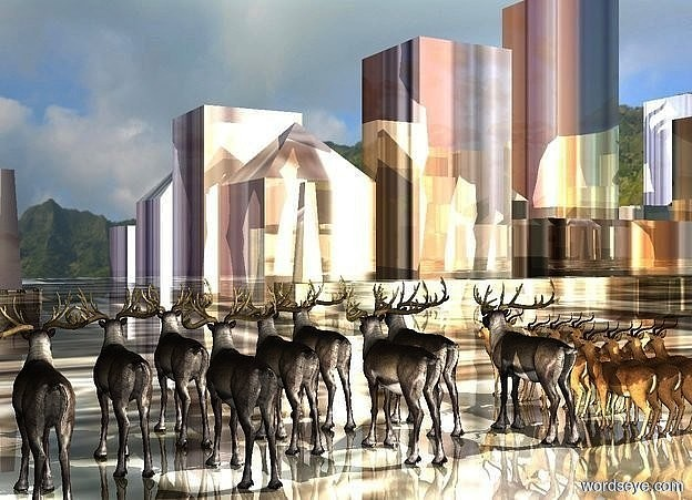 Input text: a shiny factory city block.a 1st herd is -71.1 feet above the city block.a 2nd herd is right of the 1st herd.mountain backdrop.a linen light is 1 feet behind the 2nd herd.