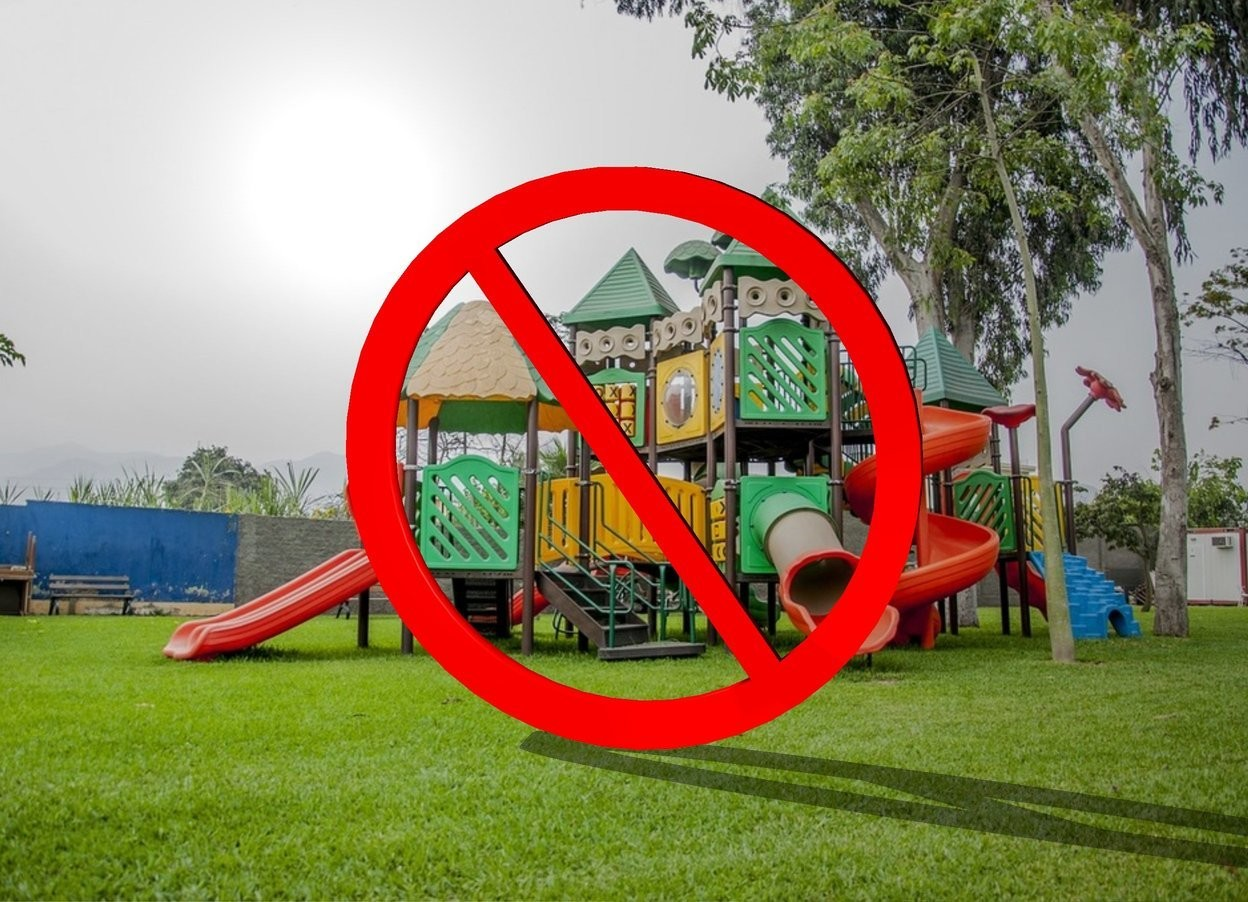 Input text: The not sign is in the playground.