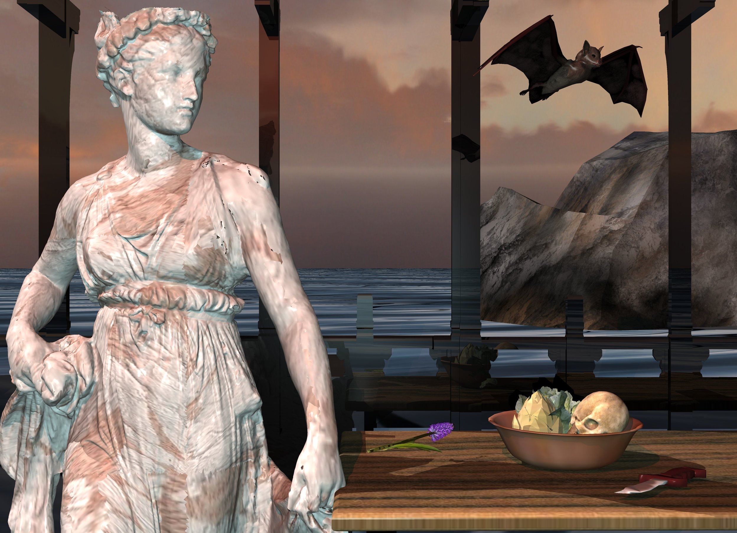 Input text: matte [texture] statue is 0.1 foot in ground. big bat is 0.5 foot right of statue and 5.3 feet above ground.  bat is facing southeast. 3 foot tall table is -0.1 foot right of statue. table's surface is [wood].  1 foot wide [texture] bowl is on table and -2 feet to left. 0.8 foot tall flower is 0.1 foot left of bowl. flower is facing down. flower is facing northeast.  0.5 foot tall skull is 4 inch in bowl and -0.6 foot to right. skull is leaning -45 degrees to ground. 4 foot tall and 4 foot wide 25% reflective black first balcony is 1 inch behind table and -0.2 foot above table. 4 foot tall and 4 foot wide 25% reflective black second balcony is -5 inch left of first balcony. 4 foot tall and 4 foot wide 25% reflective black third balcony is -5 inch left of second balcony. ground is 100 foot wide  water. 3.2  foot wide cube is 1 foot behind statue and -2.5 foot to left. cube is 25% reflective black. grass artichoke is -1 inch left of skull. 0.6 foot tall and 0.6 foot wide  cabbage is -4 inch left of skull and -6 inch to back. 0.8 foot tall buck knife is -2 inch in front of bowl and -6 inch to right. knife is facing down. knife is facing southwest. knife's handle is brown. 20 foot long rock is 50 foot behind table and 5 foot in ground. rock is 2 feet to right. rock is facing back.  camera light is powder blue. mahogany light is 3 feet in front of statue and 7 feet above ground. light is facing bat