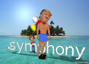 Donald Trump is in the middle of the ocean. A small chicken is floating on the water. A symphony is behind him on the water.  A boy with a violin is behind the symphony.