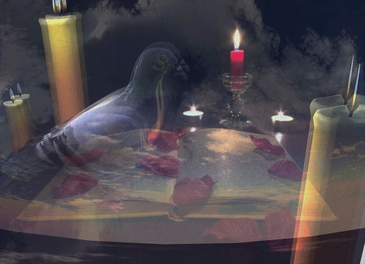 Input text: Shiny candle backdrop. Black sun. Ambient light is silver. An enormous shiny dove is 10 feet in front of a tall clear wall. It is facing east. 4 lights are left of and above the dove. A light is right of and above the dove. A humongous candle is 4.8 feet right of and 2 feet behind the dove. An enormous candle is left of and in front of the dove. A humongous candle is right of and 2 feet in front of the candle.