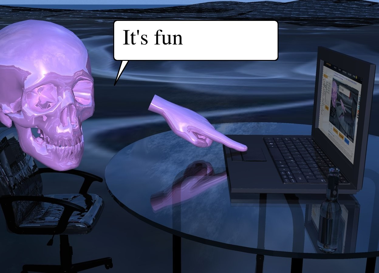 Input text:  computer is on small table.  shiny  lavender skull is -0.1 foot in front of table and 1.2 foot above ground. skull is facing northeast. shiny lavender hand is -1 foot right of computer and 1.1 foot above ground.  hand is -0.2 foot to front. hand is facing north. hand is leaning 245 degrees to north. shiny small  chair is 2 feet in skull. chair is facing computer.  0.4 foot tall beer bottle is  0.6 foot right of computer. beer bottle's label is shiny black. ground is 10 foot  wide 20% reflective [texture]. computer's display screen is  20% reflective [screen1]. sun is delft blue.