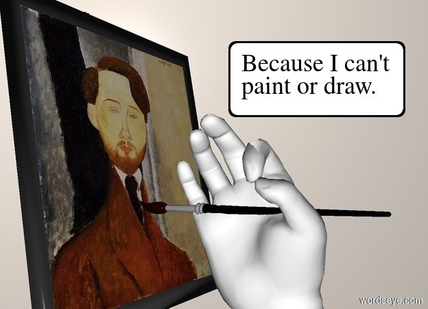 Input text: a  hand leans to the right. a paintbrush is -.29 feet above the hand. backdrop is linen. a tiny easel faces the paintbrush. it is left of and -.5 feet above the paintbrush. a tiny painting faces right. it is -.1 feet right of and -.8 feet above the easel. it leans 10 degrees to the back.