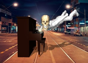 the city backdrop. the white man is -2 feet in front of the piano. he is facing northwest. he is leaning 120 degrees to the front. he is 2 feet above the ground. the large skull is -2.5 feet behind and -1 foot left of the man. it is facing left. it is -3.4 feet above the man.   the small sun symbol is -2.3 foot behind and -4.5 feet above the man.