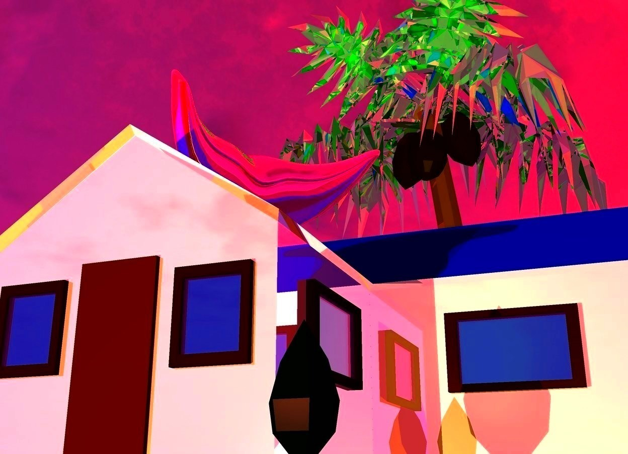 Input text: There is a reflective house. The camera light is gold. The sun is hot pink. The ambient light is purple. a large peach light is 5 feet in front of the house. the lawn of the house is lime green. The roof of the house is blue. a palm tree is behind the house. the leaf of the palm tree is reflective green. a 4 foot tall  reflective pink mouth is above the house. the mouth is facing the camera.