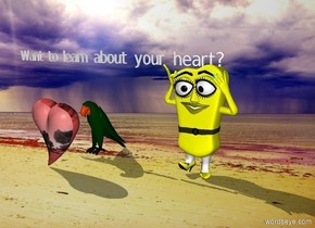 "There is girl on the beach.  It is sunny. There is a parrot two feet to the left of the girl. There is a red human heart six inches in front of the parrot.  A very small ""Want to learn about your heart?"" is one foot above the parrot."