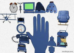 a sky is white.ground is invisible.a 80 inch tall flat delft blue hand.a 20 inch tall delft blue flat car is left of the hand.a 20 inch tall delft blue flat telephone is above the car.a 20 inch tall delft blue flat clock is above the telephone.a 20 inch tall delft blue flat television is above the clock.a 20 inch tall delft blue flat airplane is left of the television.a 20 inch tall delft blue flat bicycle is above the television.a 20 inch tall delft blue flat alarm clock is left of the bicycle.a 20 inch tall flat delft blue laptop is right of the bicycle.a 20 inch tall delft blue flat shoe is right of the laptop.a 20 inch tall flat delft blue bunch is right of the shoe.a 20 inch tall flat delft blue toilet is right of the hand.a 20 inch tall flat delft blue clothes iron is above the toilet.a 20 inch tall flat delft blue coffee maker is right of the clothes iron.a 20 inch tall flat delft blue radio is above the coffee maker.a 25 inch tall flat delft blue armchair is above the radio.