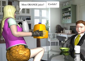 the kitchen backdrop. the table is in front of the woman. a chair is in front of the table. it is facing back. a man is 3 feet in the chair. he is facing back. the [green] bowl is on the table. it is 5 inches behind the man. the orange carton is in front of the woman. it is 1 foot above the table. the coffee pot is 1 foot to the right of the carton. it is leaning 10 degrees to the back. the cup is 4 inches to the left of the bowl. the head of hair of the woman is yellow.