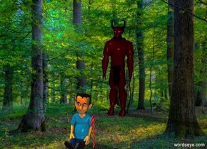 the devil is in a forest. the devil is small. candy is 66.6 centimeters in front of the devil. a very small child is to the left of the candy.