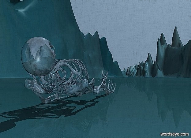 Input text:  ground is 10000 inch wide  [water]. a shiny 40% dim petrol blue skeleton is facing up.  the skeleton is -15 inch above the ground. the skeleton leans -10 degrees to back.the skeleton is facing west.ground is 750 feet deep.sky is 60% dim forget me not blue.