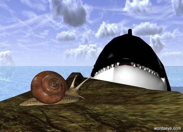 Input text: a whale.it is leaning 19 degrees to the north.the whale is 10 feet in the ground.a large rock is 1 feet in front of the whale.it is on the ground.a snail is on the rock.it is facing the northeast.the ground is shiny water.