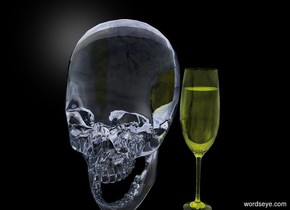 the backdrop is black. there is a human skull 3 feet tall. the human skull is made of yellow glass.