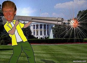 a 100 inch tall trump.a white house backdrop.sky is black.a 20 inch tall [steel] shotgun is -40 inch above the trump.the shotgun is facing southeast.a 50 inch tall red orange sun symbol is -10 inch right of the shotgun.the sun symbol is -35 inch above the shotgun.