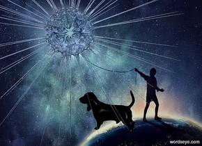 a [dm] backdrop.a 4 inch tall clear petrol blue sun symbol.a 0.8 inch tall  black dog is -2 inch right of the sun symbol.the dog is facing west.