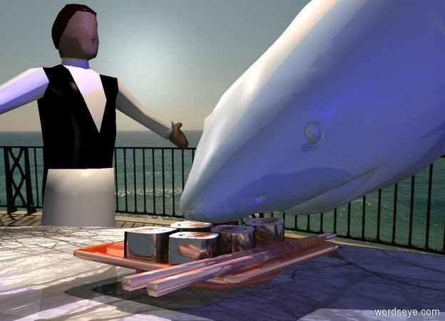 Input text: a shiny copper sushi is on a small dull wood table. a dull [sea] shark is -1 foot behind and -.95 foot above the sushi. it leans to the front. a 3 foot tall waiter is left of and -1 foot behind the table. he faces the right. a big navy light is 5 feet right of and -1 foot above the shark. a peach puff light is above and right of the waiter. camera light is dim.