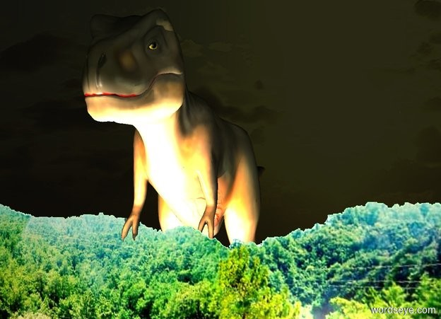 Input text: ground is 500 foot wide [forest]. background is forest. background is 50% dark. a ball. a 300 foot tall dinosaur is 3225 feet behind and 1000 feet right of the ball. 3 peach puff lights are 10 feet in front of the dinosaur. it is evening.