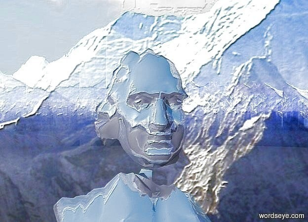 Input text: background is shiny mountain.  a ball. a 450 foot tall shiny blue gray person is 2910 feet behind and 1000 feet right of the ball. camera light is dim midnight blue.