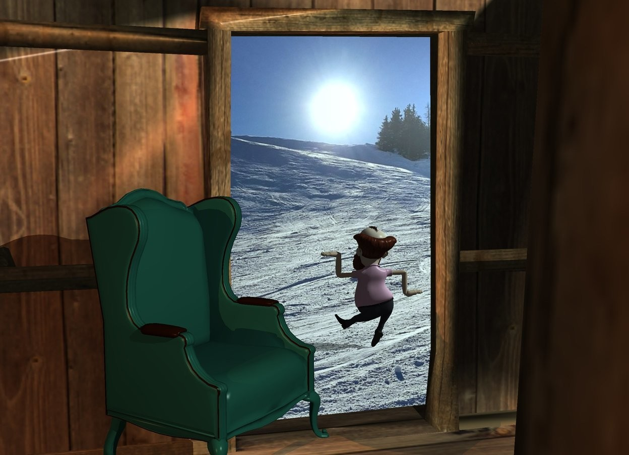 Input text: cabin. a small chair is -13 feet above and -6 feet in front of the cabin. the chair faces northwest. a small man is 5 feet in front of the house. the man is 2.6 foot left of the chair. he is on the ground.    sun is sea mist blue. a sienna light is 3 feet behind and 3 feet right of the chair. it is above the chair.  camera light is black.  a white light is 3 feet behind and 1 foot to the left of the chair. it is 1 foot above the chair.