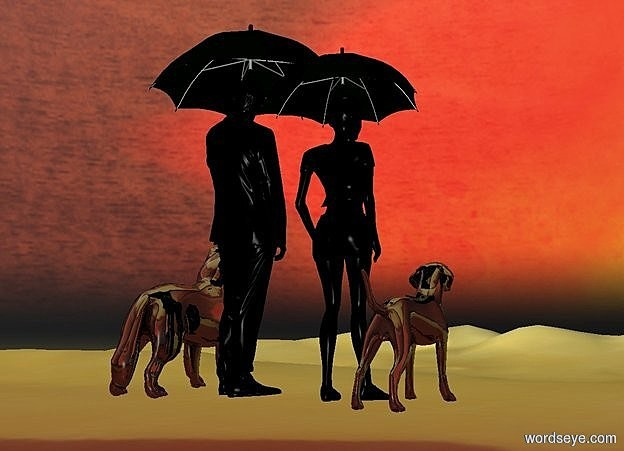 Input text: Ground is sea.sky is sea.a 100 inch tall  black man is 70 inch above the ground.the man is facing north.a 50 inch tall shiny black 1st dog is left  of the man.the 1st dog is facing north.a 90 inch tall black woman is 7 inch right of the man.the woman is facing north.a 2nd 40 inch tall shiny black  dog is right of the woman.the 2nd dog is facing north.a 1st 60 inch tall black umbrella is -40 inch above the man.a 2nd 45 inch tall black umbrella is -30 inch above the woman.