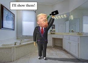the bathroom backdrop. the head is -27 inches above and in front of the man. it is -29 inches to the left of the man. it is leaning 40 degrees to the right. the large bottle is -9.5 inches to the right and -7 inches above the man.  it is -1 inch in front of the man. it is leaning 110 degrees to the right.   the tiny green clear fountain is -3 inches to the left and -18.8 inches above the bottle. it is leaning 33 degrees to the left.