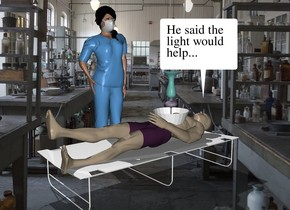 The laboratory backdrop. The man is 3 inches in the cot. He is face up. The lamp is -2.5 feet behind the man. It is -14 inches above the man. It is upside down. The woman is to the left of the cot. She is facing the man.