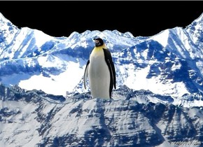 background is mountain.  it is 500 feet wide and 500 feet deep. a 100 foot tall 60% shiny penguin. ground is silver. backdrop is mountain. sky is mountain. camera light is black. ambient light is white.