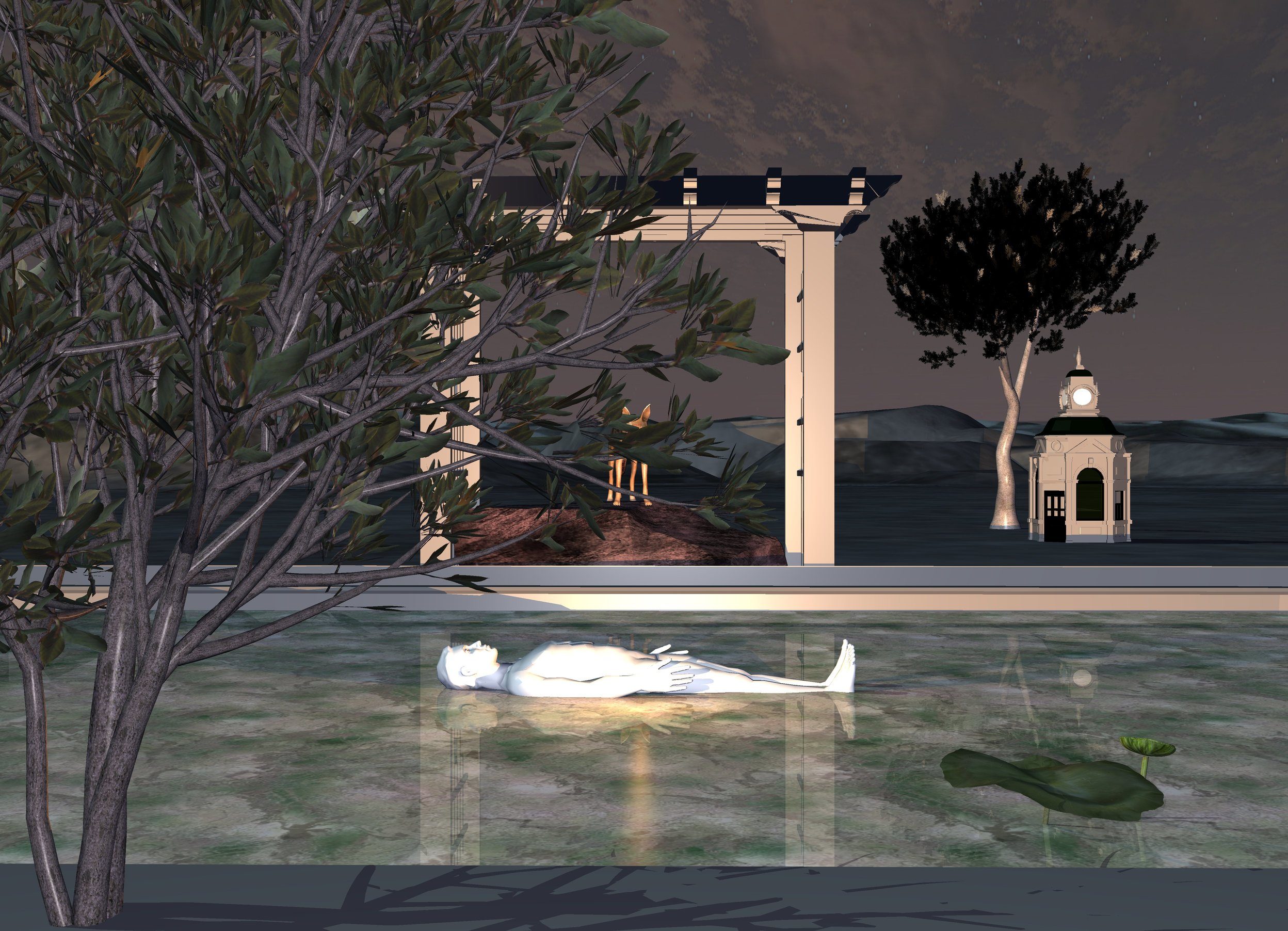 Input text: sun is gray green.  6 foot tall tree. ambient light is indigo blue. swimming pool is -7 feet behind tree and 4.2 foot in ground. swimming pool is facing right. swimming pool's water is 20% reflective 2 foot wide  [texture]. swimming pool's edge is gray. small white man is 1.45 foot in swimming pool and -18 foot to left. man is facing up. man is facing right. gray arbor is behind swimming pool and -20 foot to left. spicy gold light is in front of man. 5.6 foot wide turtledove gray rock is 7.5  foot in arbor. small jackal is -1 inch above rock. small lotus is 2.4 foot in swimming pool and -19 foot to left. lotus is -7 feet to front. jackal is facing lotus. 10 foot tall bristlecone pine is 10 feet behind arbor and 2 feet to right. bristlecone pine is facing left. bristlecone pine's leaf is black. bristlecone pine is 0.1 foot in ground. 4.5 foot tall  gray  kiosk is in front of bristlecone pine and 0.1 foot in ground.