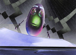 a shiny dresser.a man is 1 feet in front of the dresser.he is facing north.the man's eye is [abstract].clear ground.the sky is texture.a green light is right of the man.a rust light is left of the man.