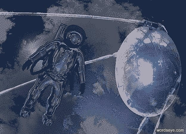 Input text: a shiny [sk] backdrop.a 4 inch tall shiny black astronaut.the visor of the astronaut is shiny black.the backpack of the astronaut is shiny black.the astronaut is facing southeast.the astronaut leans 60 degrees to the front.camera light is black.