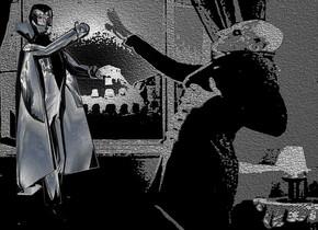 a [nf] backdrop.a 3 inch tall shiny black  dracula.the human head of dracula is shiny black.dracula is facing southeast.the hand of dracula is shiny black.the shirt of dracula is shiny black.