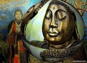a  [buddha] backdrop.a 4 inch tall [buddha] sphere.