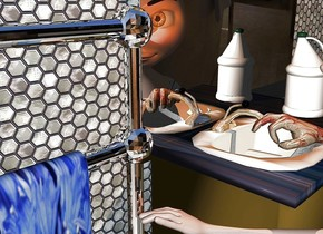 a vanity.a hand is 4.5 inch tall [texture]. it faces northwest. it is -.7 feet in front of and -1.4 feet right of and -2.5 feet above the vanity. it leans 76 degrees to the front.the mirror of the vanity is shiny white. a .7 feet tall bottle is .2 feet right of and -.28 feet above and -.8 feet in front of the hand.  it faces southwest. a wall is 4 inch tall tile. it is behind the vanity. a 2.5 feet tall and 2 feet wide and .1 inch deep silver wall is -2.5 feet above and -1 feet in front of the vanity. another bathroom wall is 3 feet in front of the vanity. the counter of the vanity is marble. a old gold light is on the hand. the camera light is sage. a woman is -1.5 feet in front of and -2.5 feet right of and -5.2 feet above the vanity. she faces northwest. a 2.5 feet tall silver towel rack is .5 feet left of the vanity. the towel of the towel rack is 3 inch tall flower. the faucet of the vanity is shiny  metal.